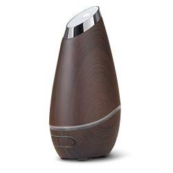 SmartMist Aromatherapy Essential Oil Diffuser – Modern Wood Finish, Auto Shut-off, LED Lig ...