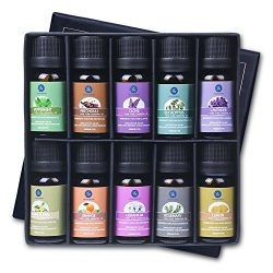 Lagunamoon Essential Oils,Top 10 Pure Aromatherapy Oils Gift Set Ideal for Christmas- Includes L ...
