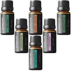 Onepure Aromatherapy Essential Oils Gift Set, 6 Bottles/ 10ml each, 100% Pure ( Lavender, Tea Tr ...