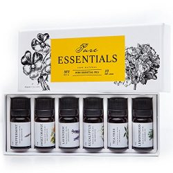 Essential oils by PURE ESSENTIALS 100% Pure Therapeutic Grade Oils kit- Top 6 Aromatherapy Oils  ...