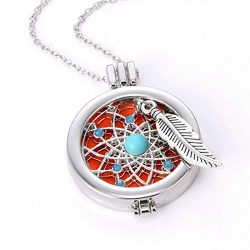 HOUSWEETY Aromatherapy Essential Oil Diffuser Necklace – Locket Pendant, 3 Colorful Pads,  ...