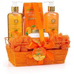 Home Spa Gift Basket – Orange & Mango Fragrance – Luxurious 7 Piece Bath & B ...