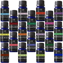 Aromatherapy 18 Essential Oils (Lavender, Tea Tree, Peppermint, Lemongrass, Orange, Eucalyptus,  ...