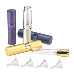 Madholly 4 Pieces 8ml Twist-Up Perfume Spray Bottles, Portable Refillable Perfume Sprayer Atomiz ...