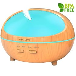 Essential oil diffuser, 300ml Wood Grain Ultrasonic Aromatherapy Diffuser with Timer, Waterless  ...