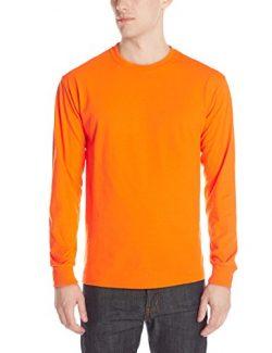 Jerzees Men's Adult Long Sleeve Tee, Safety Orange, Medium