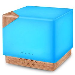 Square Aromatherapy Essential Oil Diffuser Humidifier, 700ml Large Capacity Modern Ultrasonic Ar ...