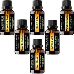 Majestic Pure Aromatherapy Essential Oil Synergy Blend Set of top 6 from Pure Therapeutic Grade  ...