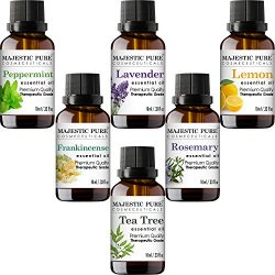 Majestic Pure Essential Oils Set, Therapeutic Grade Aromatherapy Oil Set, Includes Lavender, Fra ...