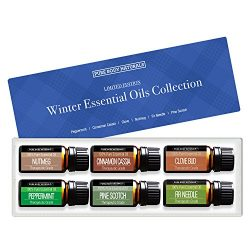 Pure Body Naturals Holistic Aromatherapy Essential Oils Winter Sampler Set, Peppermint, Cinnamon ...