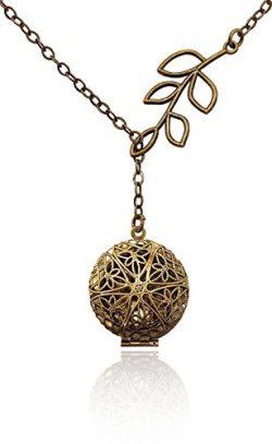 Unique Tree Branch Drop Bronze-Tone Brass-Tone Aromatherapy Necklace Essential Oil Diffuser Lock ...