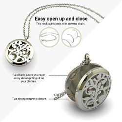 Essential Oil Diffuser Necklace for Aromatherapy with Two Silver Stainless Steel Adjustable Chai ...