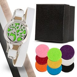 Aromatherapy Bracelet with 3 Genuine Leather Bands – Essential Oil Diffuser Bracelet 3 Cha ...