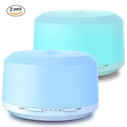 Aromatherapy Diffusers for Essential Oils 2 Pack, 450ml Essential Oil Diffuser and Humidifiers f ...