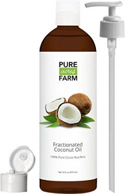 Fractionated Coconut Oil (Liquid) – Large 16oz – WITH PUMP + FREE Recipe eBook! R ...