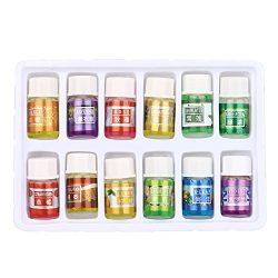 Essential Oil Set, Hometom 12 Flavor 0.1OZ/Bottle Pure Aromatherapy Essential Oil Skin Care Bath ...