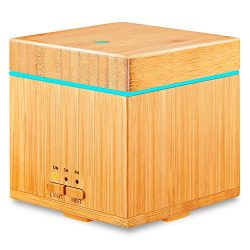 URPOWER Real Bamboo Essential Oil Diffuser 300ml Square Cool Mist Humidifiers Running 10 Hours A ...