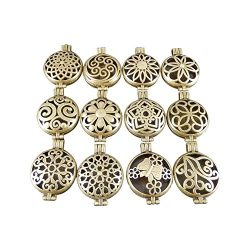 JulieWang 12pcs Mixed Bulk Aromatherapy Bronze Pendant Locket Essential Oil Diffuser
