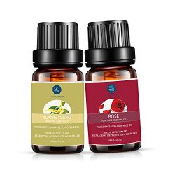 Lagunamoon Ylang Ylang Essential Oil,Rose Essential Oil Natural Pure Aromatherapy Oils Therapeut ...