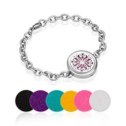 Aromatherapy Essential Oil Diffuser Locket Bracelet with 6 Color Felt Pads