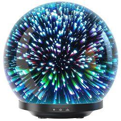 Essential Oil Diffuser – 3D Glass 230ml Galaxy Premium Ultrasonic Aromatherapy Oils Humidi ...