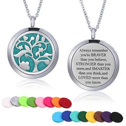 Mtlee Aromatherapy Essential Oil Diffuser Necklace Locket Pendant Stainless Steel Perfume Neckla ...