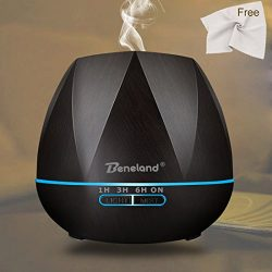 Aromatherapy Essential Oil Diffuser, 550 ml Wood Grain Ultrasonic Aroma Humidifier with 4 Timer  ...