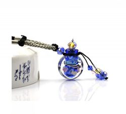 Dark Blue Glazed Glass Aromatherapy Essential Oil Necklace Pendant Locket Jewelry Gift Package