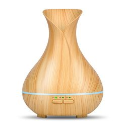 OliveTech Aroma Essential oil diffuser, 150ml Wood Grain Aromatherapy Diffuser Ultrasonic Cool M ...