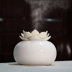 YJY Ceramic Aromatherapy Essential Oil Diffuser, Lotus Flower Humidifier Portable for Office, US ...