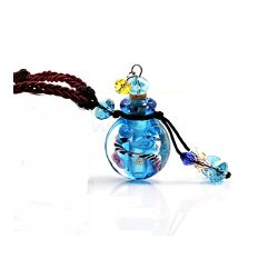 Blue Glazed Glass Aromatherapy Essential Oil Necklace Pendant Locket Jewelry Gift Package