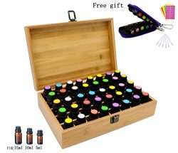 Aromatherapy Essential Oil Wooden Bamboo Storage Box Holds 40 Bottles 5-10-15ML, Fit for Young L ...