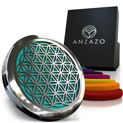 Car Essential Oil Diffuser by Anzazo – 1.5″ Magnetic Locket Set with Air Vent Clip & ...