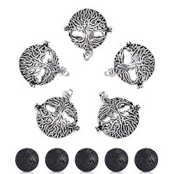 Sromay 5Pcs Antique Silver Diffuser Locket Aromatherapy Essential Oil Tree of Life Cage Locket P ...
