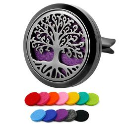 RoyAroma 30mm Car Aromatherapy Essential Oil Diffuser Stainless Steel Locket Air Freshener with  ...
