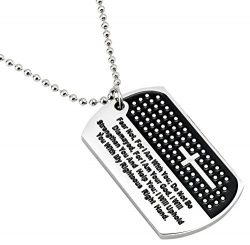 Men's Stainless Steel Carved Cross and Lord's Prayer Black & Silver Dog Tag Pend ...