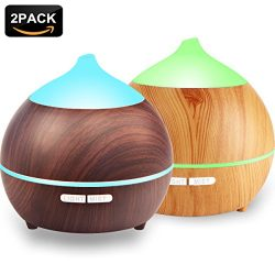 2PACK Essential Oil Diffuser, Iextreme 250ml Wood Grain diffuser With Auto Shut Off, 8 Colorful  ...
