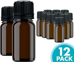 Glass Bottles for Essential Oils – 12 Pack 10 ml Refillable Empty Amber Bottle with Orific ...