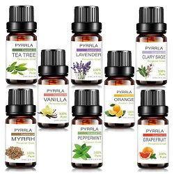 Essential Oils,8 Top Aromatherapy essential oil Box Basic sampler by PYRRLA (Tea Tree/Peppermint ...