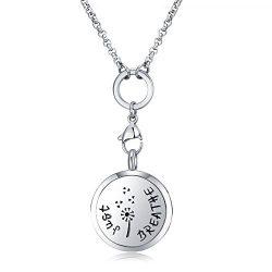 MESINYA Just Breathe (Medium) Aromatherapy/316L s.steel Essential Oils Diffuser Locket Necklace  ...
