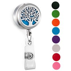 CAPTTE 316L Stainless Steel Essential Oil Diffuser Badge Holder Reel Clip for Nurse Aromatherapy ...