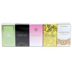 Versace Variety Gift Set Versace Versense EDT 5 ml,Versace Crystal Noir EDT 5 ml Versace Bright  ...