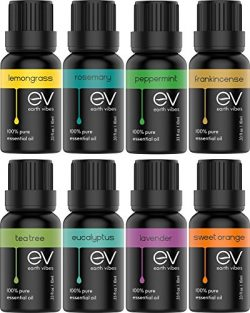 Earth Vibes Aromatherapy Top 8 Essential Oils Set – 100% Pure, Natural & Therapeutic G ...