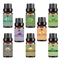 Top 8 Essential Oils Set,Pure Therapeutic Grade Aromatherapy Oils,Lavender,Eucalyptus,Lemongrass ...
