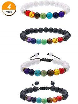 Bememo 4 Pieces Lava Stone Bracelets 7 Colors Chakra Beads, Aromatherapy Bracelets Bangles for E ...