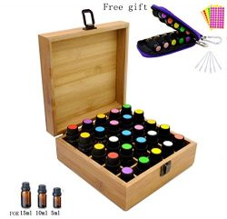 Aromatherapy Essential Oil Wooden Bamboo Storage Box Holds 25 Orificer Bottles 5-10-15ML,Fit for ...