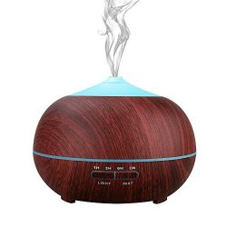 Uni Home Aromatherapy Essential Oil Diffuser, 400ml Wood Grain Humidifier with Color LED Lights  ...