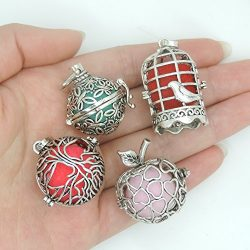4pcs Mix Style Hollow Bird Cage Apple Tree Butterfly Locket Perfume Fragrance Essential Oil Arom ...