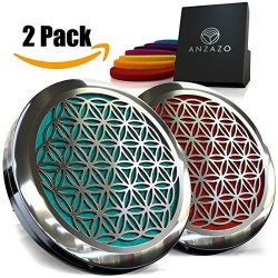 2 PACK – Car Essential Oil Diffuser – 1.5″ Magnetic Locket Set with Air Vent C ...