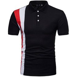 Cottory Men's Side Striped Solid Short Sleeve Tee Casul Slim Fit Polo Shirt Black Medium